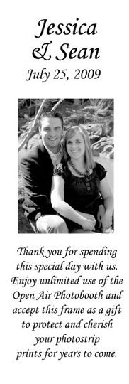 Open Air Photobooth Sample Thank you Note insert which can be designed, pre-printed, and insert into...