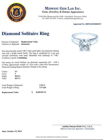Diamond Solitaire Ring Appraisal by Midwest Gem Lab.