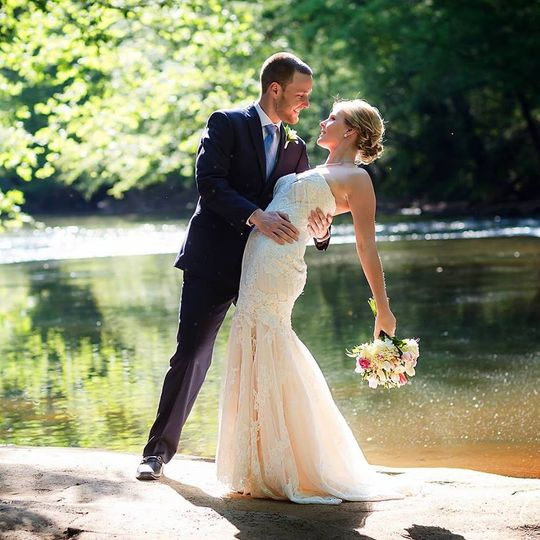 Newlyweds by the river