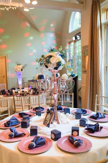Rose gold and navy decor