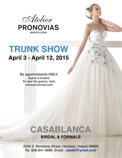 Atelier Pronovias 2015 Trunk Show, April 3 -12, 2015.