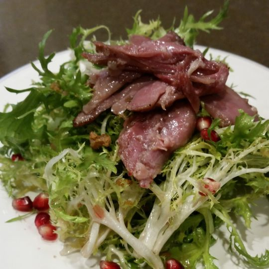Salad with meat and pomegranate