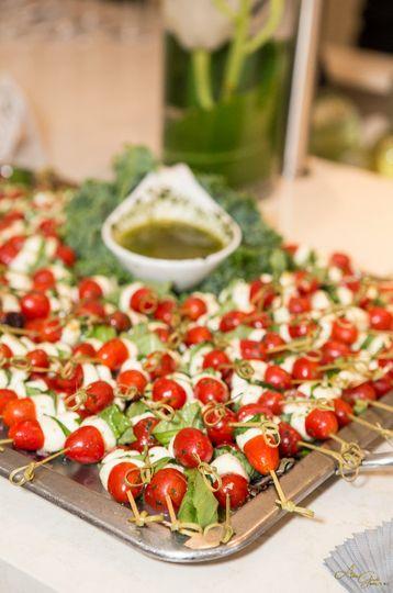mozzarella balls and tomato skewer