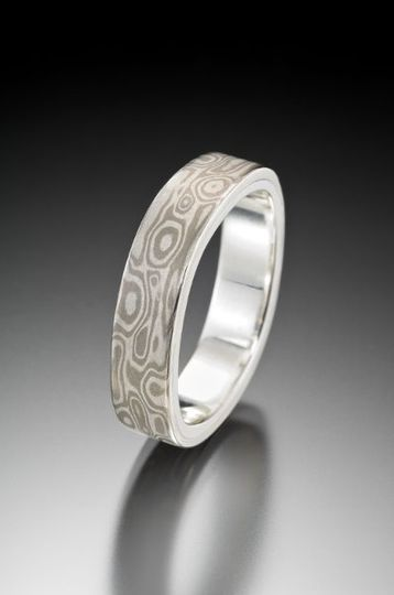 square mokume gane ring white gold and silver combination