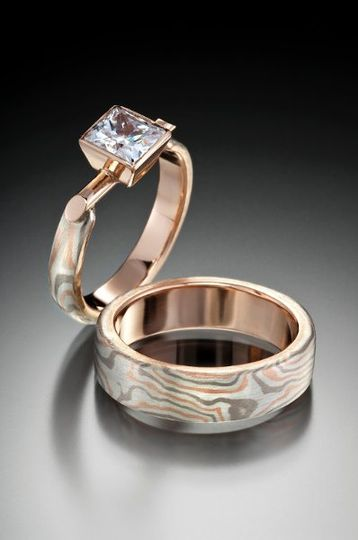 mokume gane wedding band and engagement ring with diamonds