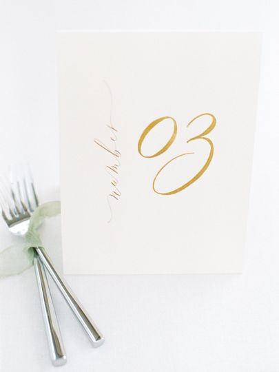 Handlettered table numbers
