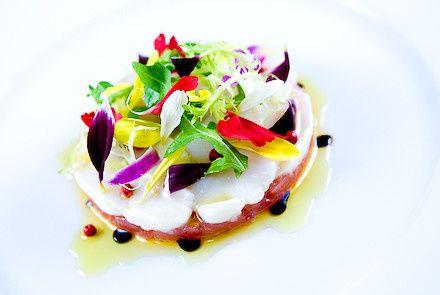 tuna tartare scallop crudo with spring salad