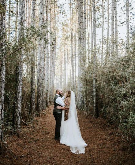 Bride & Groom  in the trees