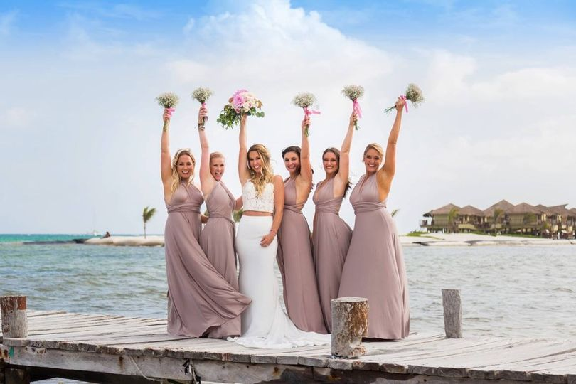 Bridal party on the boardwalk