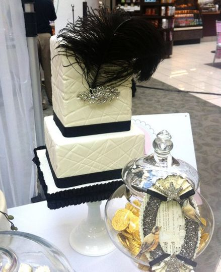 Vintage Black & White Cake with Crystals and Black Feather