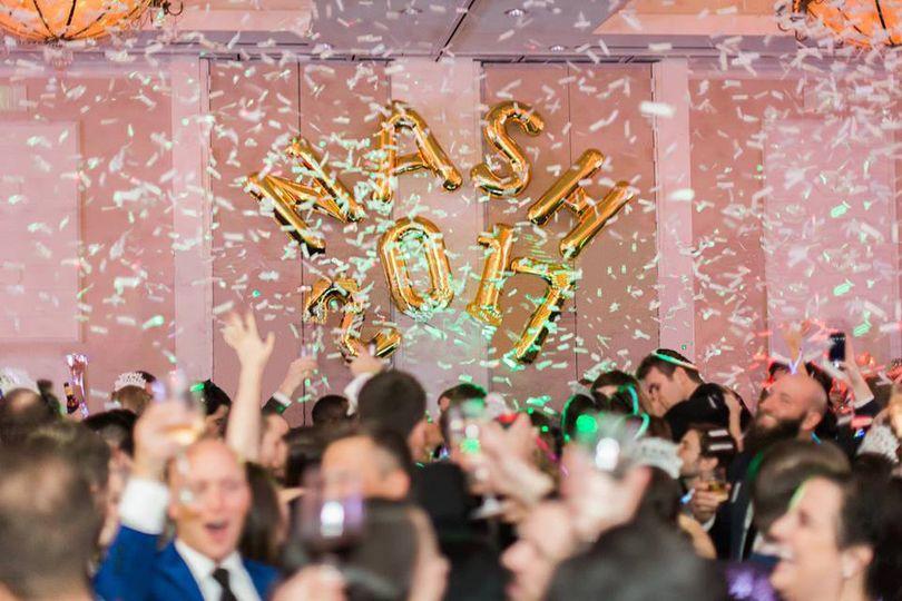Confetti blast at midnight for my NYE 2016 wedding.