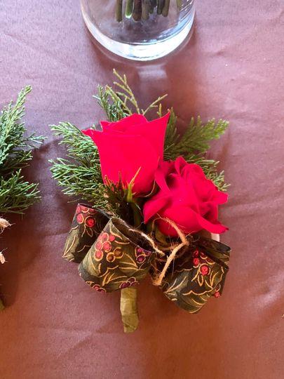 Winter rose corsage