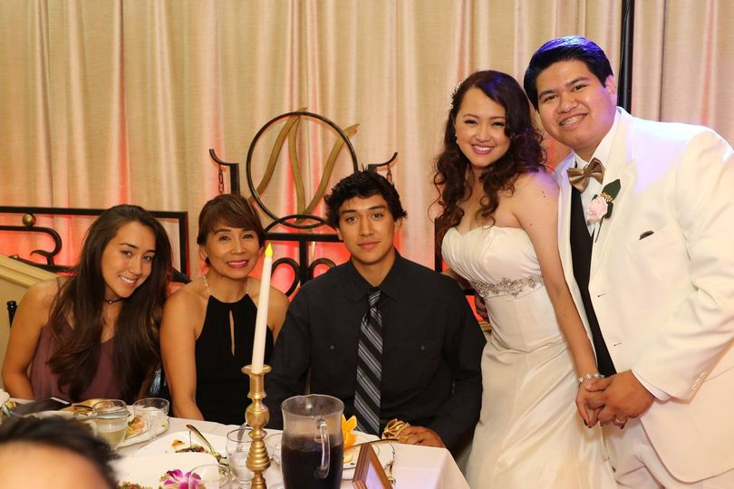 Wedding couple and their guests