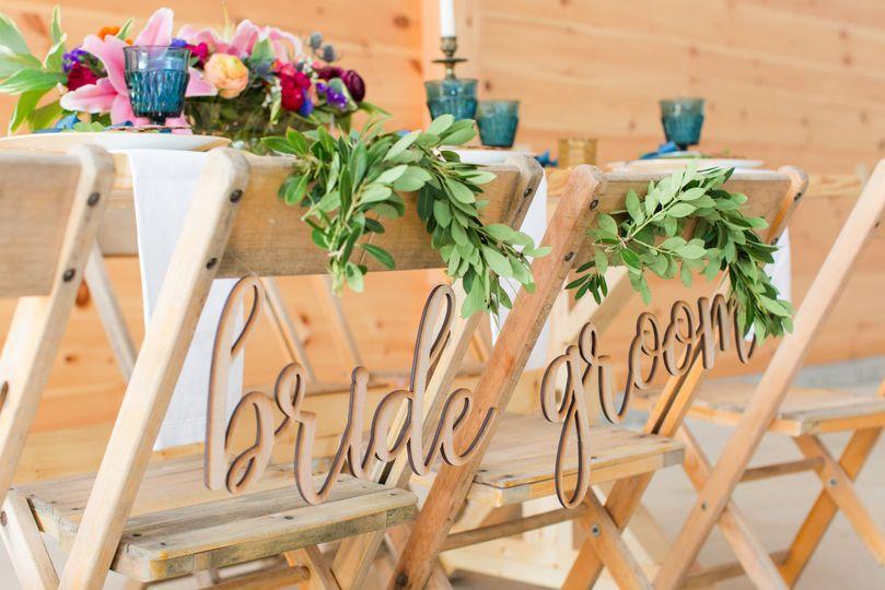 Bride & groom chair decor