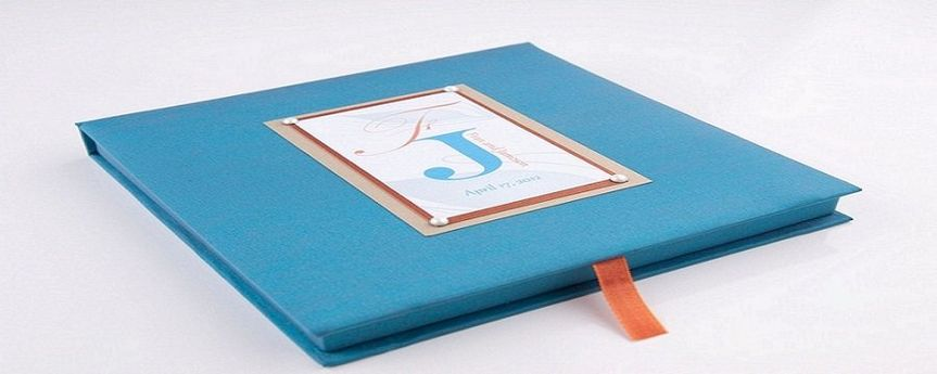 Turquoise and Rust Peacock Silk Box Invitation