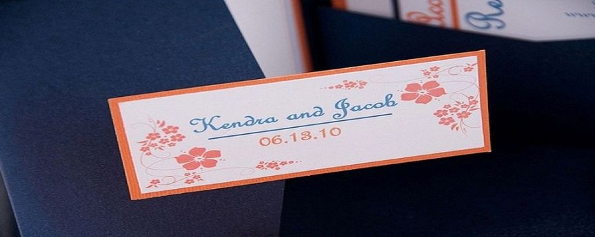 Soulful Blue and Orange Pocketfold Invitation