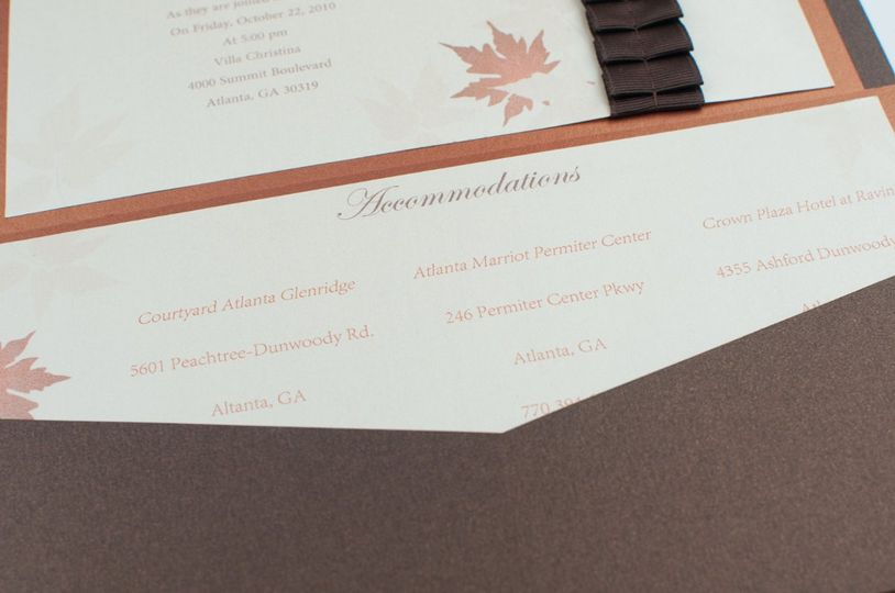 Ivory and Brown Autumn Air Pocketfold Invitation