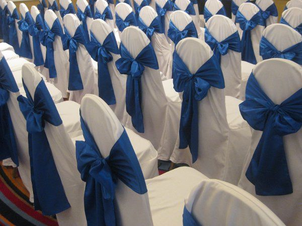 Royal blue chair ribbons