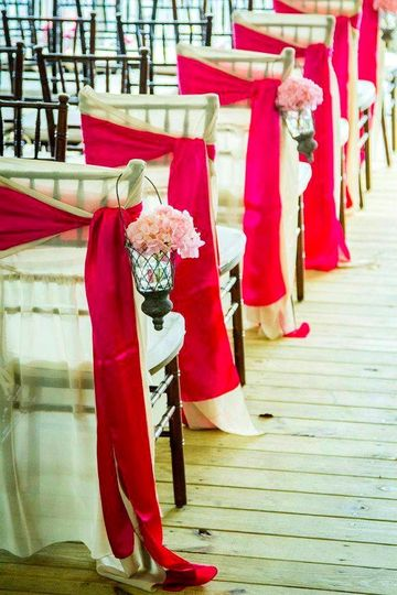 Red hot chair ribbons