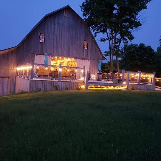 Back of barn at night