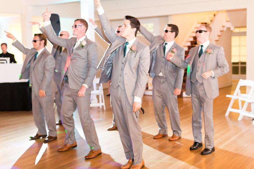 The groomsmen dancing