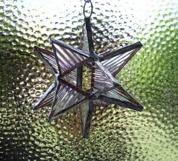 "Stained Glass Pink Diamond Moravian Star Favor.  Designed to either hang or stand. Size: 2.5"" (point..."