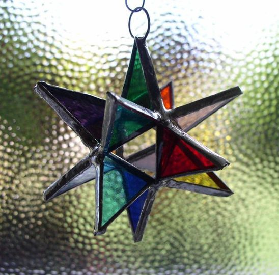 "Stained Glass Rainbow Moravian Star Favor.  Designed to either hang or stand. Size: 2.5"" (point to..."