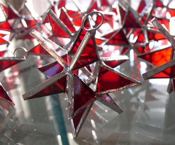 "Stained Glass Ruby Red Moravian Star Favor.  Designed to either hang or stand. Size: 2.5"" (point to..."