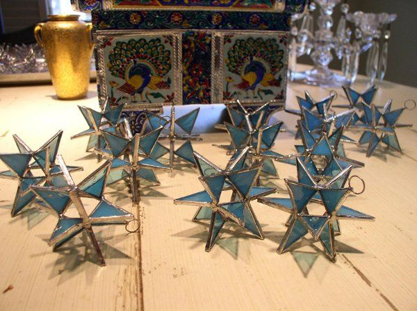 "Stained Glass Opaque Turquoise  Moravian Star Favor.  Designed to either hang or stand. Size: 2.5""..."