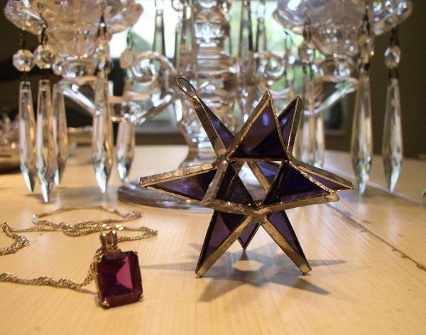 "Stained Glass Amethyst Moravian Star Favor.  Designed to either hang or stand. Size: 2.5"" (point to..."