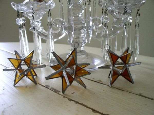 "Stained Glass Topaz Moravian Star Favor.  Designed to either hang or stand. Size: 2.5"" (point to..."