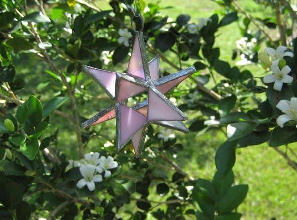 "Stained Glass Pink Opal Moravian Star Favor.  Designed to either hang or stand. Size: 2.5"" (point to..."