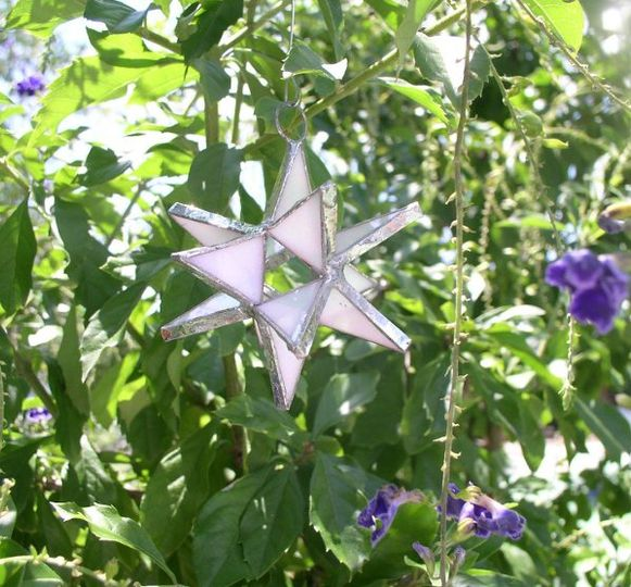 "Stained Glass Pearl Moravian Star Favor.  Designed to either hang or stand. Size: 2.5"" (point to..."