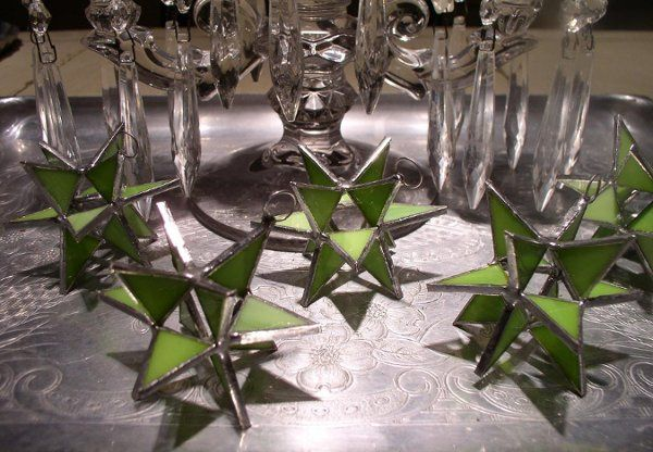 "Stained Glass Opaque Peridot Moravian Star Favor.  Designed to either hang or stand. Size: 2.5""..."