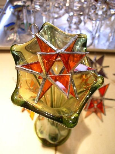 "Stained Glass Spessartine Moravian Star Favor.  Designed to either hang or stand. Size: 2.5"" (point..."