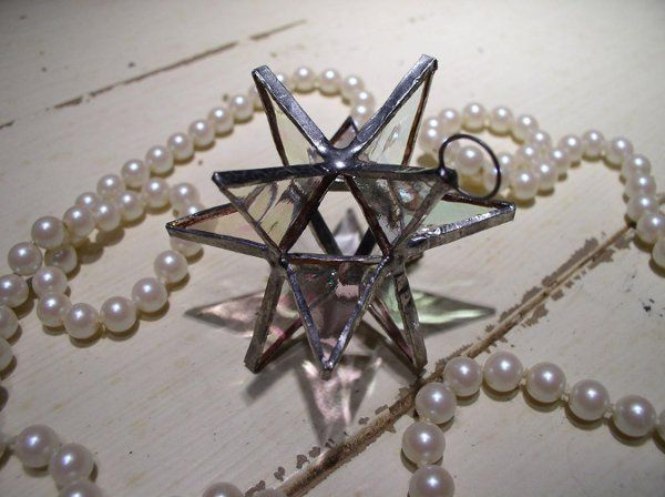 "Stained Glass Clear Iridescent Moravian Star Favor.  Designed to either hang or stand. Size: 2.5""..."