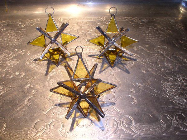 "Stained Glass Yellow Gold Moravian Star Favor.  Designed to either hang or stand. Size: 2.5"" (point..."