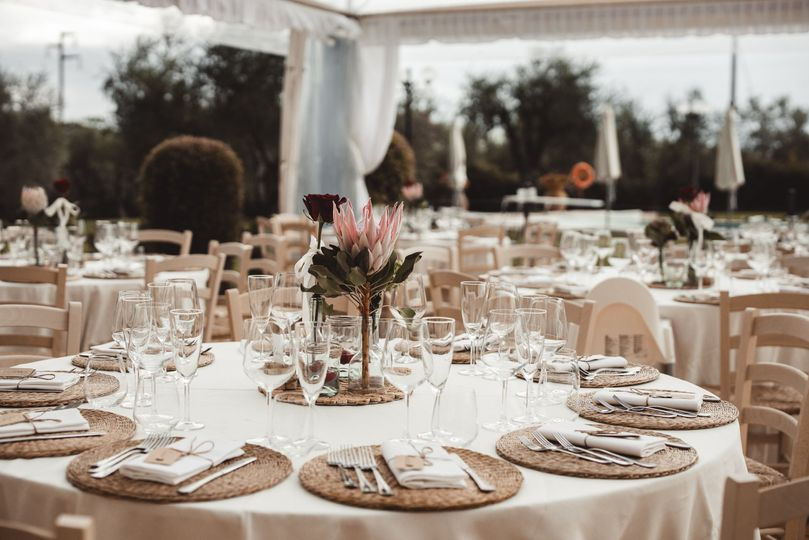 Rustic wedding dinner