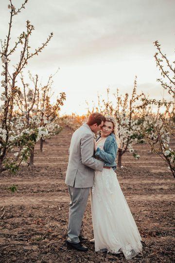 Cherry blossom orchard wedding