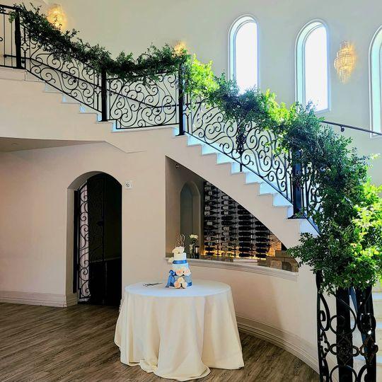 Greenery stair decor