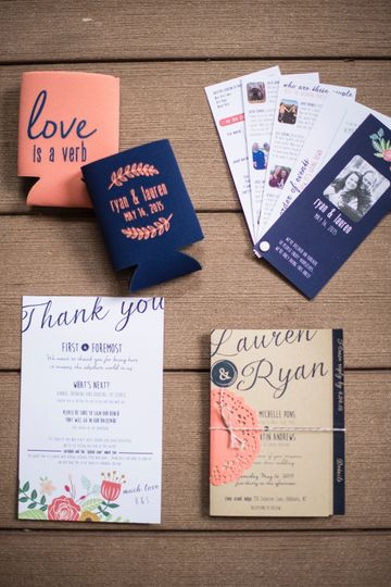 Wedding suite - navy & coral