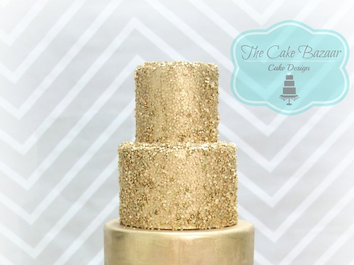 Tmx 1468254103320 Gold Sequins Cake 2016 Pharr wedding cake