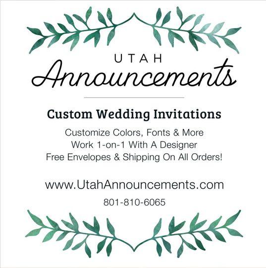 Utah Announcements Invitations American Fork Ut Weddingwire