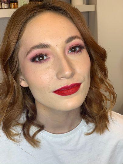 Red lip + rosy eye
