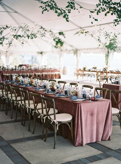 Blush Velvet table linens.