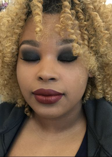 Black smokey eye and burgundy lip