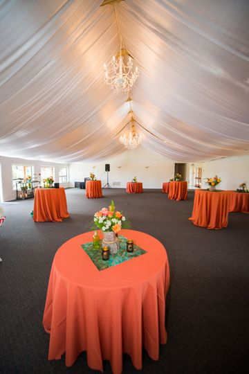 Ceiling draping and chandelier rental