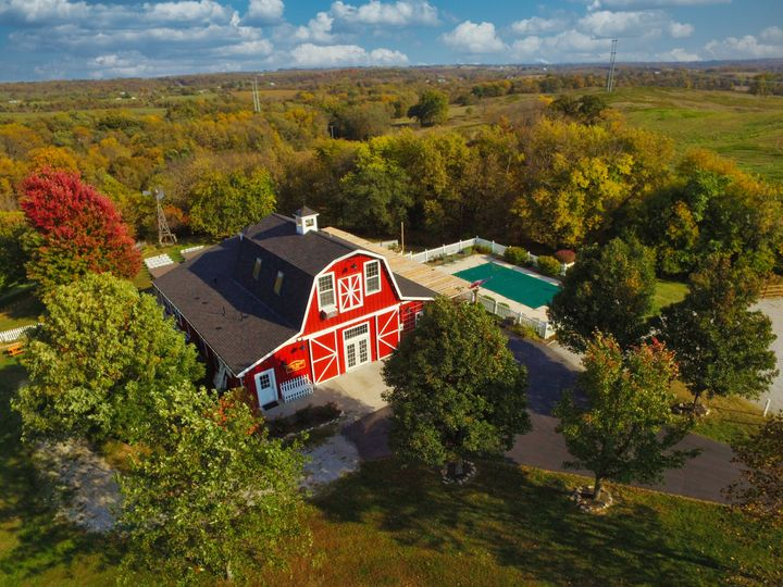 Aerial of the barn