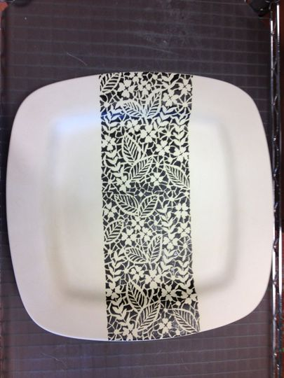 This lace pattern was copied from a wedding invitation onto this ivory matte glazed piece...just...