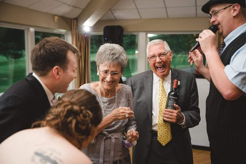 Laughter at the reception